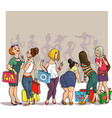 drawing girls shopping vector image