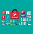 first aid kit with medical equipment vector image