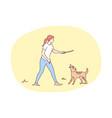 fun recreation playing friendship dog joy vector image
