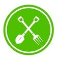 garden tools round green icon vector image vector image