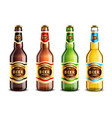 glass beer bottles realistic set vector image