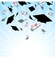 Graduation caps in the sky vector image vector image