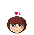 head cute girl in love smug expression i love vector image