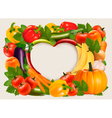 Heart shaped background made of vegetables and vector image vector image