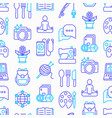 hobby seamless pattern with thin line icons vector image