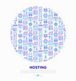 hosting concept in circle with thin line icons vector image vector image