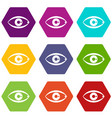 human eye icon set color hexahedron vector image vector image
