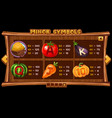 info screen for slot game on wooden background vector image vector image