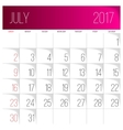 July 2017 calendar template vector image vector image