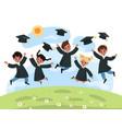 kids graduation day kindergarten cute multiethnic vector image