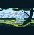 landscape with river forest and mountains vector image