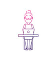 line profesional businesswoman with laptop and vector image