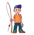 little boy was going to fish summer active vector image vector image