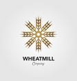 logo grain mill forming a windmill vector image vector image