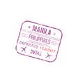 manila airport visa stamp border control seal vector image vector image