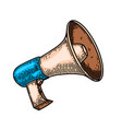 megaphone in engraving style isolated on white vector image