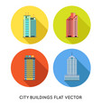 modern city buildings and houses flat icons set vector image vector image