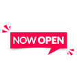 modern red label with text now open vector image vector image