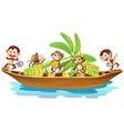 Monkey on boat vector image vector image