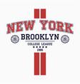 new york brooklyn college t-shirt design vector image vector image
