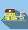 old couple together next their house with hearts vector image