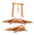 old gibbet and a bunch boards isolated on vector image