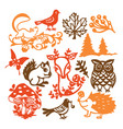paper cut silhouette vintage forest animals set vector image vector image