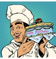 Pastry chef with birthday cake vector image vector image