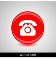 phone icon white silhouette on a red vector image vector image