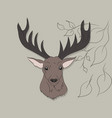 portrait of a deer on a colored background vector image vector image