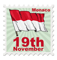 post stamp of national day of Monaco vector image vector image