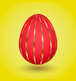 red easter egg with gold stripes vector image