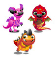 set of funny colorful fantasy pets with big vector image vector image