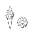 sketch ice cream waffle cone isolated vector image vector image