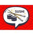 speech bubble with icon of sushi on red p vector image