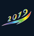 stylized numbers of 2019 symbolizing the rise and vector image