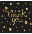 Thank you golden text for card Modern brush vector image vector image
