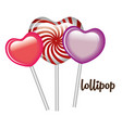 three lollipop heart sweet graphic vector image