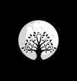 tree moon logo design vector image vector image