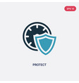 two color protect icon from time management vector image vector image