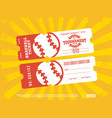 two modern professional design of baseball tickets vector image vector image