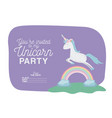 unicorn party invitation card with floral vector image