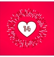 valentines heart with fourteen number vector image vector image
