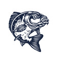 vintage carp fishing logo black and white vector image vector image