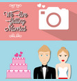 we are greeting married poster couple cake and vector image vector image
