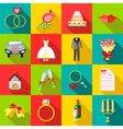Wedding icons set flat style vector image vector image