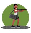 woman with shotgun and a bag cash vector image vector image