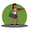 woman with shotgun and a bag of cash vector image