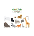 Zoo Animals Flat Design Icons Set vector image vector image