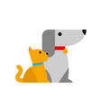 cat and dog in minimalistic style vector image
